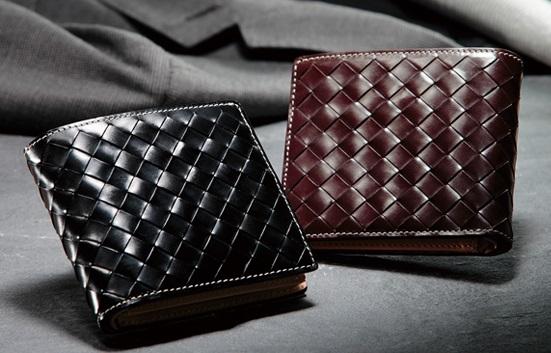 ブライドルレザーメッシュ二つ折り財布