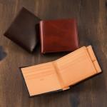 二つ折り財布(ベロ・小銭付札入)シラサギレザー