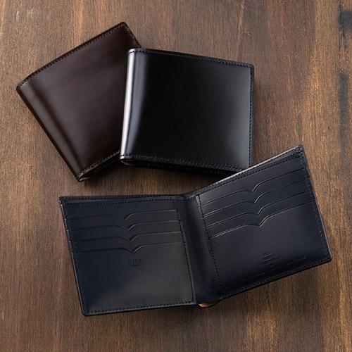 二つ折り財布(カード札入)オイルシェルコードバン&ベジタブルタンニン