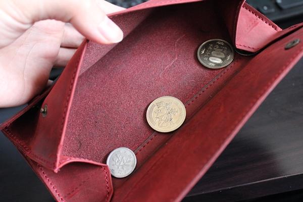 ナポレオンカーフ小銭入れの中の経年変化