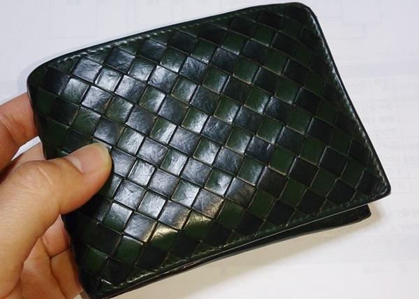 ボッテガ・ヴェネタ二つ折り財布緑