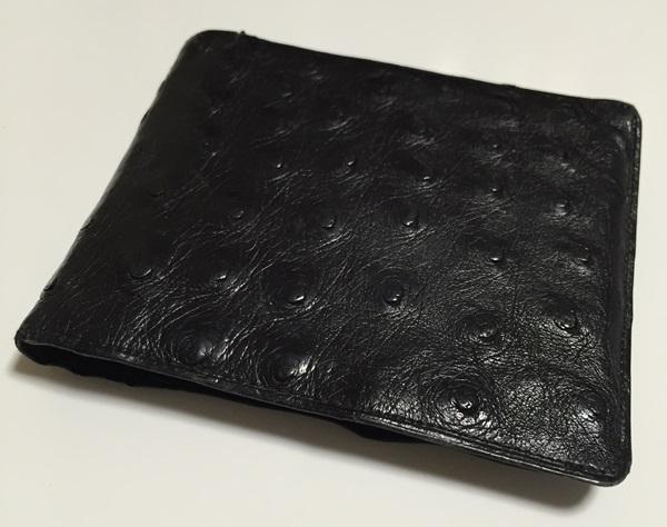 ノンブランドのオーストリッチ二つ折り財布