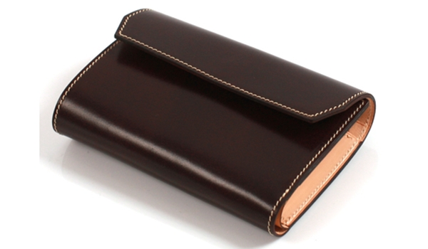 万双のコードバン 三つ折り財布