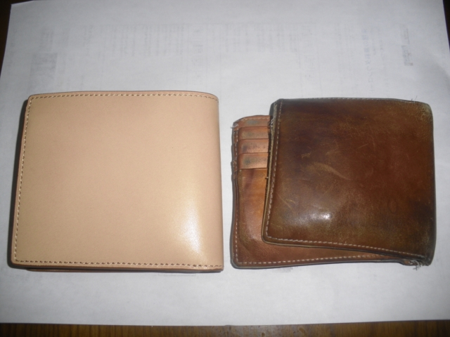 イタリア産ヌメ革コインポケット付二つ折り財布 生成 コンビニ受取可