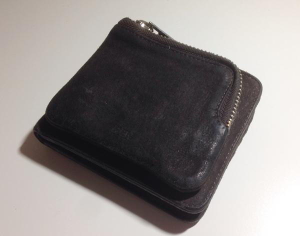 メンズ財布RENのスモーク・シリーズ 外ポケウォレット小銭入れ側