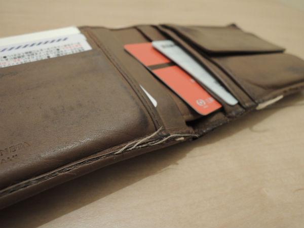 ボッテガ二つ折り財布のエイジング
