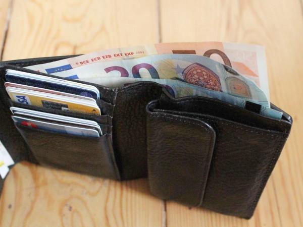 無印良品の三つ折り皮財布にユーロを入れた