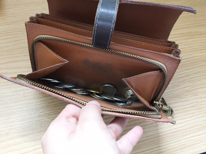 ファスナー付きのコインポケット